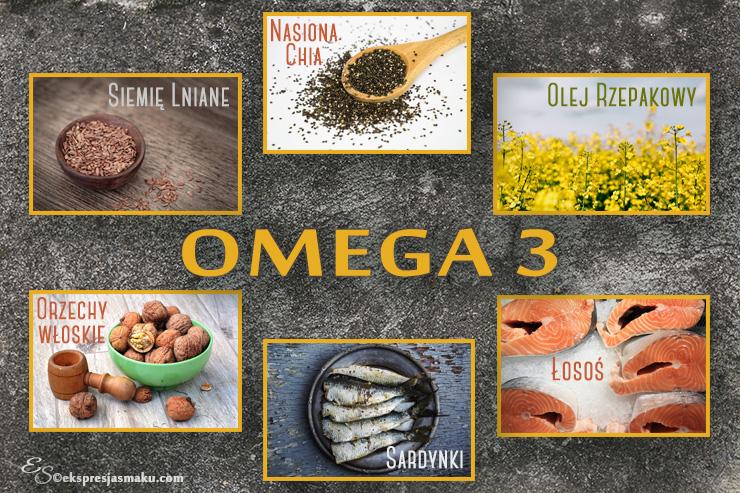 Zdrowe odżywianie - kwasy tłuszczowe omega-3 infografika