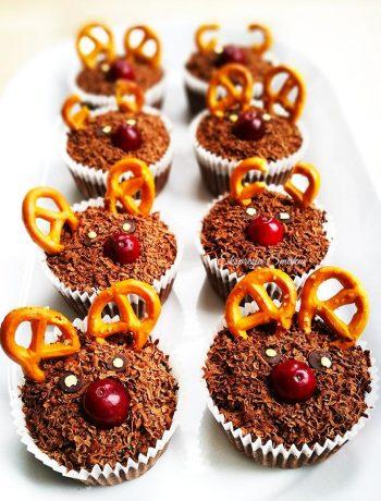 Bezglutenowe czekoladowe babeczki renifery